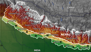 Separate from Nepal even from sky: Satellite Image of Madhesh / Tarai (The low-lying land appears in green and yellow in the map.)